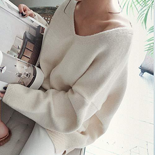 BINGSL Pullover,Herbst Frauen V-Ausschnitt Strickpullover Pullover Lazy OAF Lose Beiläufige Übergroße Pullover Apricot Schwarz Rosa Pullover