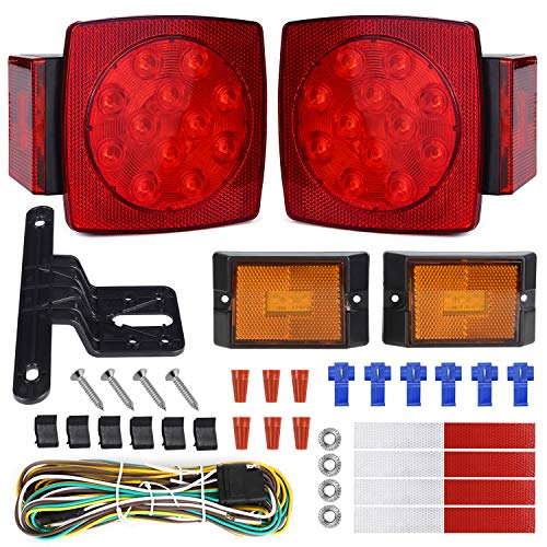 WoneNice LED Submersible Trailer Tail Light Kit, Combined Stop, Taillights, Turn...