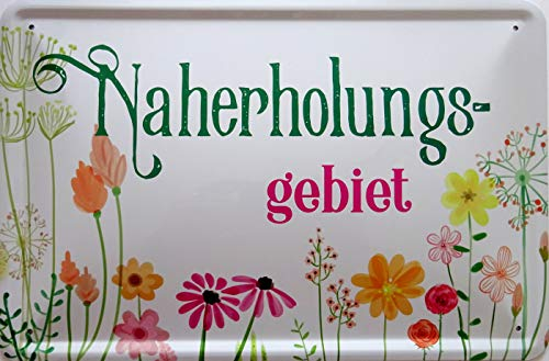 vielesguenstig-2013 Blechschild Schild 20x30cm - Naherholungsgebiet Garten Teich See Blumen Ruhe genießen