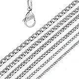 DonDon Collar de Acero Inoxidable masivo para Hombres Longitud 52 cm - Ancho 0,45 cm