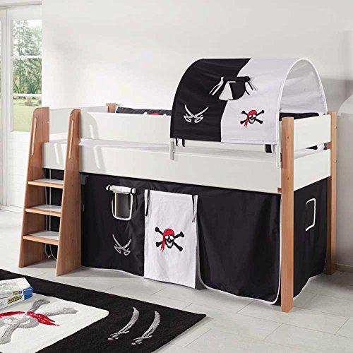 Pharao24 Piraten Kinderbett in Schwarz Weiß halbhoch