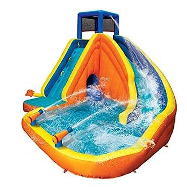 BANZAI 90494 Sidewinder Blast Inflatable Water Slide with Tunnel Ramp Slide Water Park