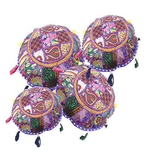 iinfinize - 4 fundas de cojín Khambadiya bordadas de 45,72 cm, diseño de puf redondo de 45,72 cm, estilo vintage, para meditación, estilo otomano, con borlas hippie, funda para sofá o silla