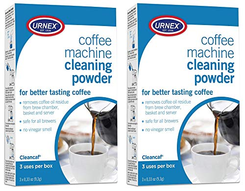 Urnex Coffee Maker and Espresso Machine Cleaner Cleancaf Powder - 2 Pack (6 Packets) - Safe on Delonghi Ninja Hamilton Beach Mr Coffee Braun and More