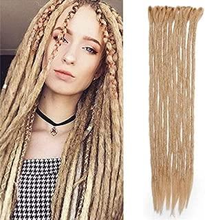 Dsoar Dreadlock Extensions For Women/Men 12 Strands 20 inch Synthetic Dreads Hair 100% Handmade Fashion Reggae Hair Hip-Hop Style Crochet Loc Extensions(24#,Deep Blonde)