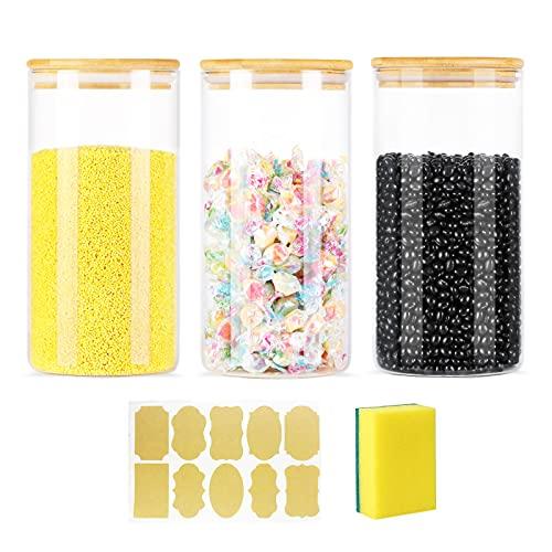 Hmlike Lot de 3 bocaux hermétiques en verre de 1,3 l avec couvercles en bambou pour céréales, café, farine, biscuits, sucre, spaghetti