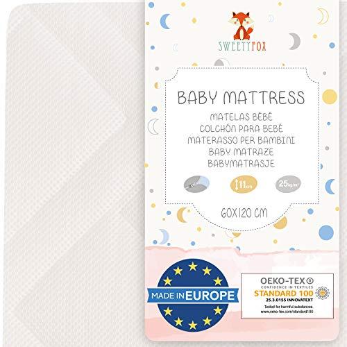 Sweety Fox - Babymatratze 60x120 - Hergestellt in Europa - Babybett und Kinderbett - Wendbar mit Sommer- und Winterseite - Komfort, Frische und Wärme - Matratzenhöhe 11cm und Dichte von 25kg/m3.