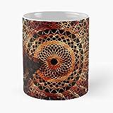 Metal Colorful Template Mandala Sign Fork Dragon Fire Music Taza de café con Leche 11 oz