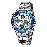 WWOOR Reloj Automatic para Hombre Relojes Digitales Cronógrafo Relojes de Pulsera Calendario Analógico Relojes Impermeable