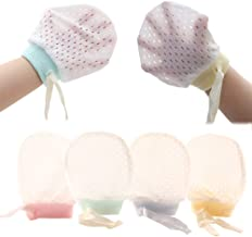 Adeimoo Baby Boy Girl No Scratch Silk Cotton Mittens Mesh Breathable Drawstring Gloves for Newborn Toddler Infants 8 Pack (Eyelet Mitten)