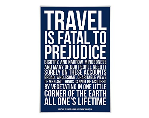 Travel is Fatal to Prejudice Art Print Mark Twain Quote. 60 Colours/2 Sizes. Innocents Abroad. Literary Poster. Racism Bigotry