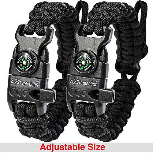 A2S Protection Bracelet Paracord K2-Peak - Kit de Survie avec Boussole intégrée, Allume-feu, Couteau d'urgence et sifflet (Noir/Noir Taille Ajustable)