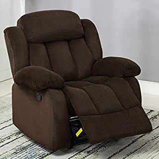 ANJ Oversized Breathable Fabric Recliner Chair,Large Classic Recliners Single Sofa Home Theater Seating (Brown)