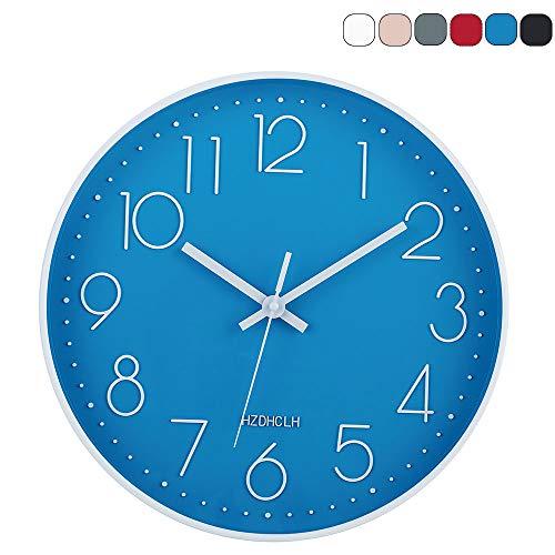 HZDHCLH 30cm Modern Quartz Lautlos Wanduhr Schleichende Sekunde mit Arabisch Ziffer ohne Ticken für Dekoration Wohnzimmer, Küche, Büro, Schlafzimmer (Blau)