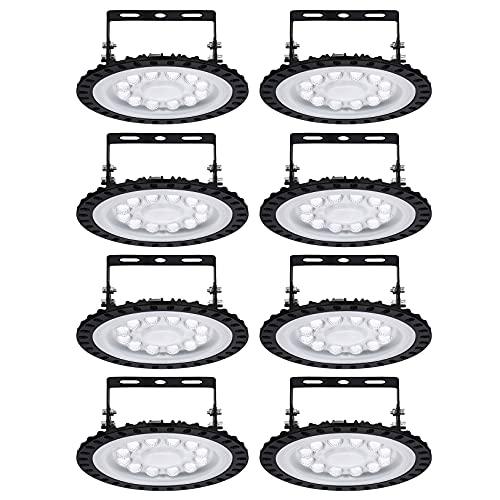BUKEHANWEI 50W LED High Bay Light Lámpara de Taller ultradelgada 4000LM 6000K-6500K Luz de Trabajo Blanca fría Luz Industrial súper Brillante UFO para almacén de fábrica,8PCS-50W