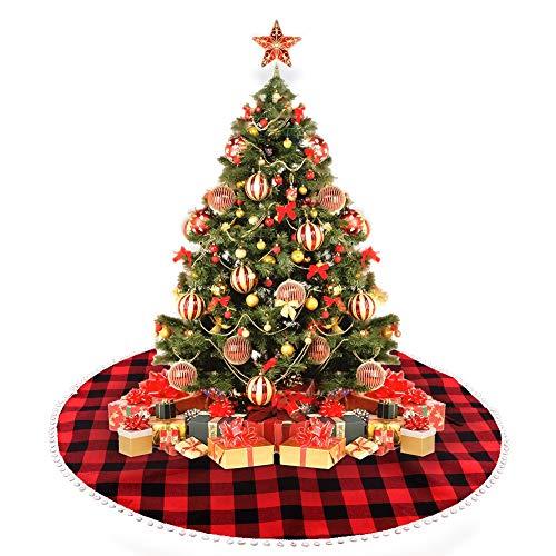 FREESOO Falda de Árbol de Navidad Adornos 122CM Base Alfombra de Árbol de Navidad Decoración para Fiesta de Año Nuevo Fiesta Vacaciones Casa