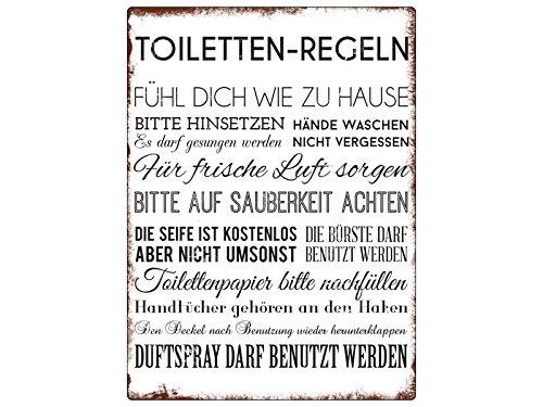 Interluxe WANDSCHILD Metallschild TOILETTEN Regeln Lustig Dekoschild Badregeln Schild für das Gäste WC