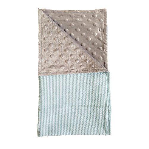 The Coral Palms Seersucker & Minky Cuddly Stroller Blanket (Sky Blue & Gray)