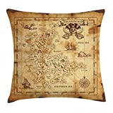 Ambesonne Island Map Throw Pillow Cushion Cover, Super Detailed Treasure Map Grungy Rustic Pirates Gold Secret Sea History Theme, Decorative Square Accent Pillow Case, 36' X 36', Beige Brown