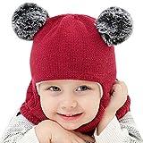 Luoistu Gorro de Invierno para niños pequeños, Bufandas de Punto cálido con Pompones de Piel, Mantiene la Cabeza y el Cuello de los niños Calientes Durante 2 a 6 años (Rojo Vino)