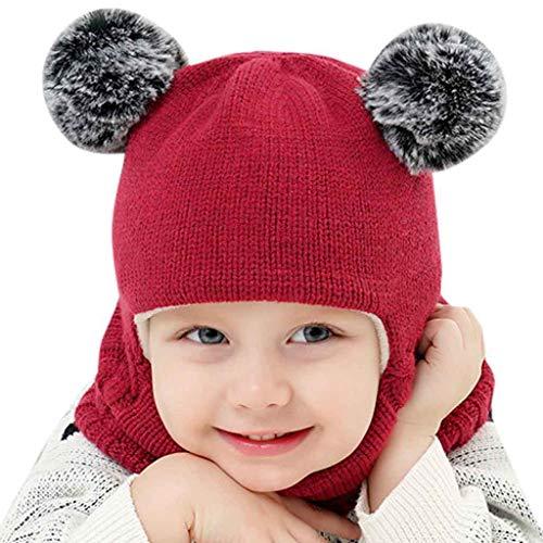 Luoistu Gorro de Invierno para niños pequeños, Bufandas de Punto cálido con Pompones de Piel, Mantiene la Cabeza y el Cuello de los niños Calientes Durante 2 a 6 años