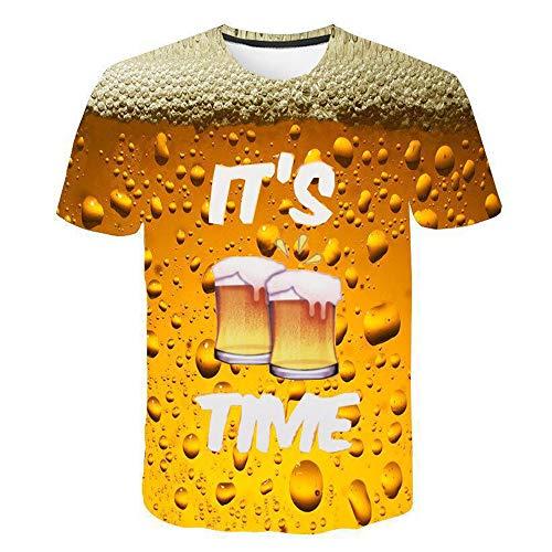 Summer mannen met korte mouwen T-shirt 3D Tijd van het bier Novelty Water Patroon ronde hals Tops Tees Funny 3D Printed Streetwear T-shirt,B,M
