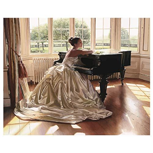 Malen nach Zahlen Klavier, Hochzeit, Frau, gerahmt, für Erwachsene Anfänger, Hochzeit Frau mit Klavier, Unframed