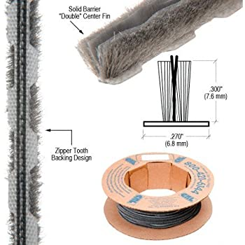 Black Pile Brush Weather Stripping for Doors 423PB-BK in Dimensions: 50 ft. 1//4 W x 5//16 H