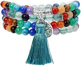 Mookaitedecor - Mala tibetano, braccialetto composto da 108 perline di cristalli curativi, con cordoncino elastico
