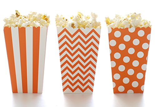 Popcorn Boxes, Orange Design Trio (36 Pack) - Miniature Scalloped Edge Cardboard Party Candy Container/Treat Cartons