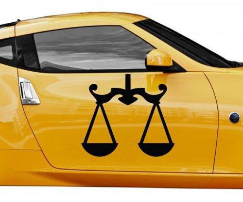 Autoaufkleber Sternzeichen Waage Zeichen Tattoo Auto Sticker Aufkleber 5Q513, Farbe:Weiß Matt;Breite vom Motiv:10cm