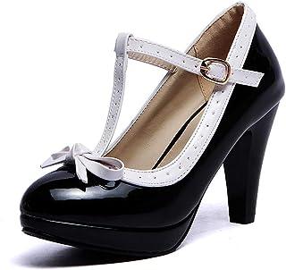 Lucksender T Strap Bows Womens Platform High Heel Pumps Shoes