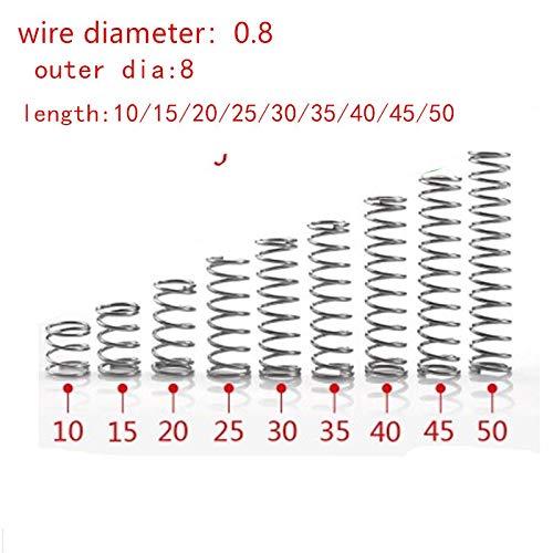 NO LOGO L-Yune, 20pcs 0.8mm 0.8x8mm Edelstahl Druckfeder Drahtdurchmesser 0,8 mm Außendurchmesser 8mm Länge 15-50mm (Größe : 30mm)