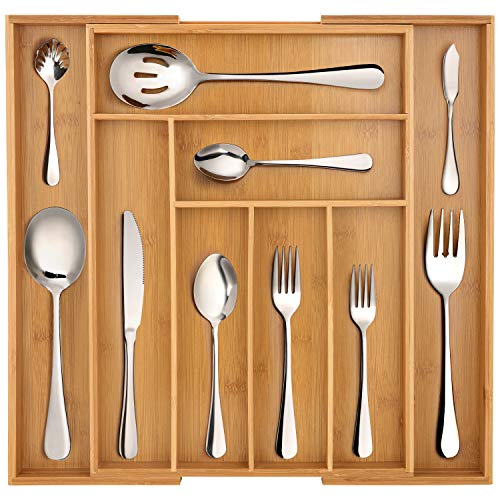 Hiware 65-Piece Silverware Set with Organizer, Stainless Steel Flatware Cutlery Serving Set For Home Restaurant Gathering, Service for 12, Dishwasher Safe