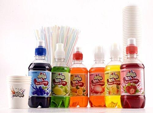 Große Snow Cone Kit-Geschenkpakete, Standardflaschen, Inklusive 6 Geschmacksrichtungen von Slush Syrup, Cones und Free Straws