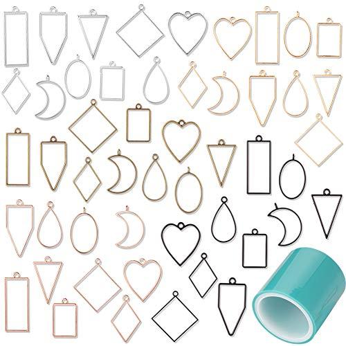 metagio 50 pièces Pendentifs Cadre moulle resine epoxy moules en résine creuse lunette Moules à suspension à cadre creux géométrique assortis pour Bracelet Collier Boucles d'oreilles en résine