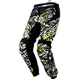 O'Neal | Pantalones de Motocicleta | Enduro Motocross | Libertad de Movimiento, Acolchados de Goma Protectora | Pantalones Elemento de Ataque | Adultos | Negro Amarillo Neón | Talla 36/52