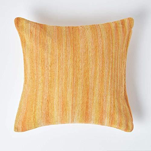 Homescapes Cojín de Felpa de Algodón Corbata y Dye óxido, 100% Algodón, óxido, 60 x 60 cm (24 x 24)