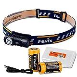 Fenix HM50R 500 Lumens Multi-Purpose Compact LED Headlamp Flashlight, Rechargeable Battery Plus Additional Rechargeable Battery & LumenTac Battery Organizer