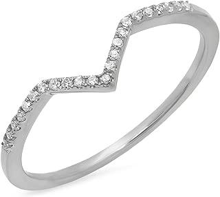 Dazzlingrock Collection 0.10 Carat (ctw) 10K Gold Round White Diamond Wedding Stackable Anniversary Guard Chevron Ring 1/10 CT