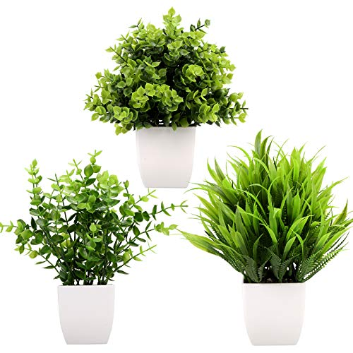 Greentime 3Pack Mini Fake Plants in Pots,Artificial Plastic Eucalyptus...