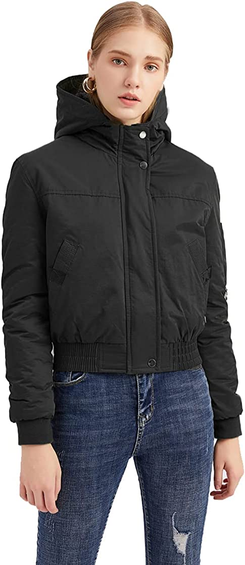 GMFS Women's Hooded Lightweight Quilted Padded Jacket Casual Cotton Short Coat Outwear