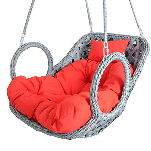 YYEWA Egg Chair Cushion Hanging Swing Garden Yard Rattan Chair Mats Chair Pads with Pillow Outdoor Indoor,Red,100X85cm
