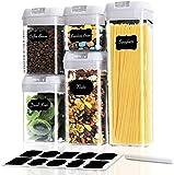 Wimaha, set di 5 contenitori salvafreschezza in plastica, ermetici con coperchio, con etichetta riutilizzabile, misurini per cereali, farina, zucchero (5 pezzi)