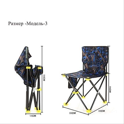 ZE Chaise Pliante Chaise de pêche Portable Pliable pour Sac de Plage Chaise Pliante Siège de Chaise de Camping Oxford Light (Couleur   Model3)