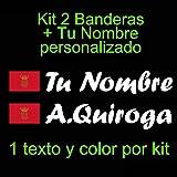 Vinilin - Pegatina Vinilo Bandera Navarra + tu Nombre - Bici, Casco, Pala De Padel, Monopatin, Coche, etc. Kit de Dos Vinilos (Blanco)