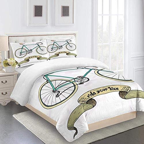 MENGBB 3D Copripiumino Letto Matrimoniale Bicicletta retrò - 230x200cm Totale 4 Dimensioni con 2 Federa, Set Biancheria da Letto, Fibra di Poliestere Camera da Letto Tre Pezzi 1 Copripiumino + 2 Feder