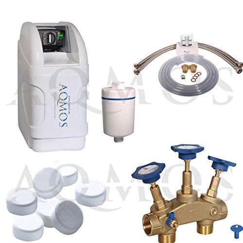 Aqmos BM-32 Wasserenthärtungsanlage im Set mit Montageblock und 100kg Regeneriesalztabletten, Wasserenthärtungsanlage für Haushalte bis zu 3 Personen, Entkalkungsanlage, Antikalkanlage