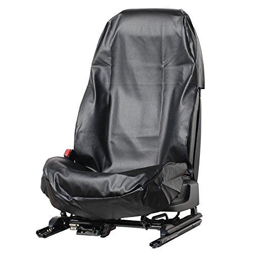 1 Stück Sitzschoner Werkstattschoner Auto Sitzbezug aus robustem Kunstleder Schwarz aus ECO Leder Schonbezug wasserdicht + pflegeleicht + robust + langlebig PU (1 Stück Kunstleder Schwarz)