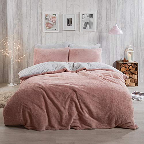Brentfords Reversible Teddy Fleece Duvet Cover with Pillow Case Supersoft Cuddly Fluffy Thermal Warm Soft Bear Bedding Set, Sherpa, Blush Pink Grey, Double